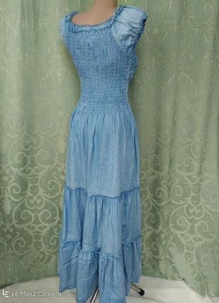 Джинсовый сарафан-платье женский макси5 фото