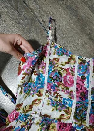 Цветочный принт, легкий сарафан3 фото