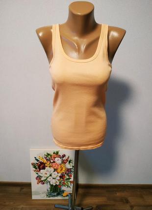 Майка в рубчик персикового цвета / горячая цена/ скидки!1 фото