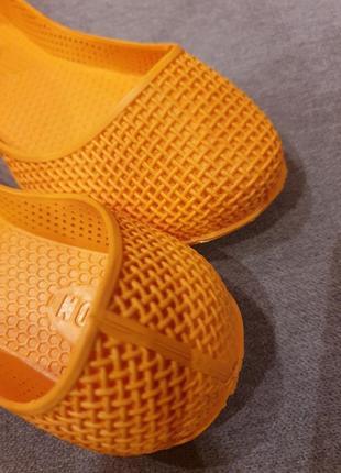 Яркие оранжевые резиновые балетки fashion3 фото