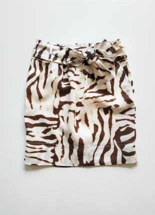 Льняная юбка в анималистический принт banana republic.1 фото