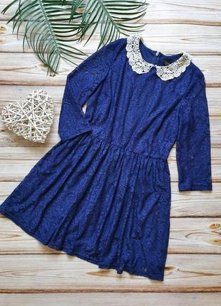 Кружевное платье с воротником1 фото