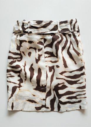 Льняная юбка в анималистический принт banana republic.2 фото
