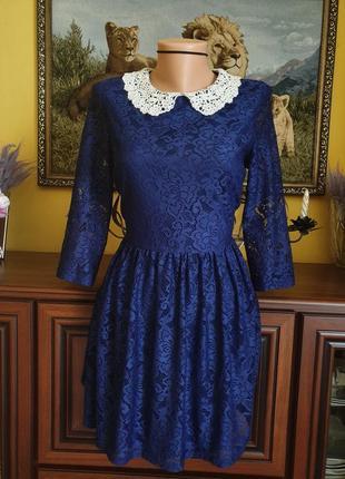 Кружевное платье с воротником3 фото