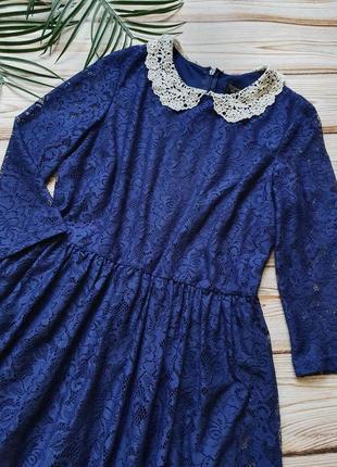 Кружевное платье с воротником4 фото