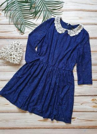 Кружевное платье с воротником5 фото