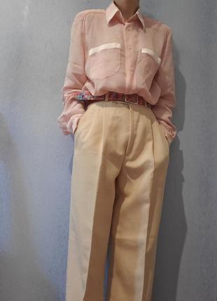 Пудровая блуза рубашка винтаж ретро в пижамном стиле брендовая seidensticker1 фото