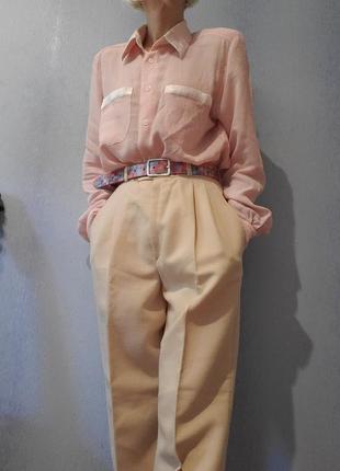 Пудровая блуза рубашка винтаж ретро в пижамном стиле брендовая seidensticker2 фото