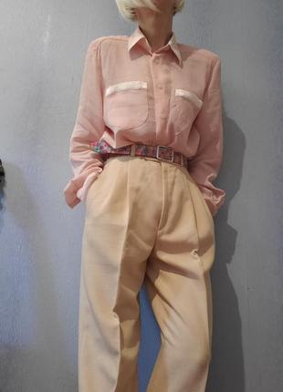 Пудровая блуза рубашка винтаж ретро в пижамном стиле брендовая seidensticker3 фото