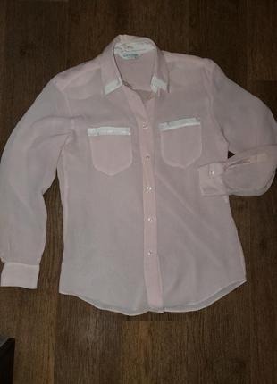 Пудровая блуза рубашка винтаж ретро в пижамном стиле брендовая seidensticker4 фото