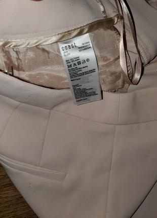 Пудровые широкие брюки палаццо клёш от бёдра высокая талия крутого бренда coast7 фото