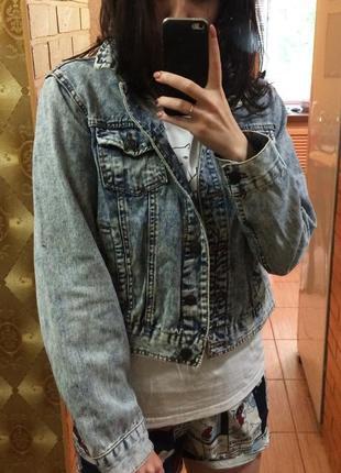 Джинсовая куртка джинсовка вареный джинс варенка 90 е оверсайз3 фото