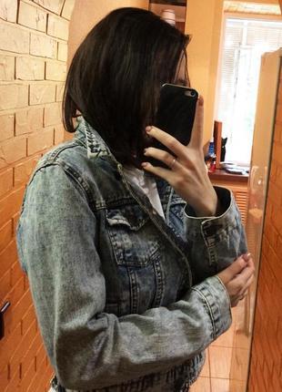 Джинсовая куртка джинсовка вареный джинс варенка 90 е оверсайз5 фото
