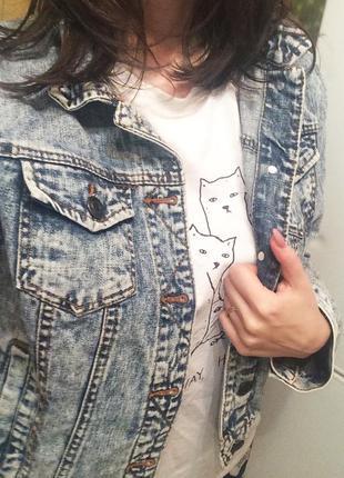 Джинсовая куртка джинсовка вареный джинс варенка 90 е оверсайз2 фото