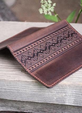 Обложка для паспорта кожаная мужская коричневая с народным орнаментом