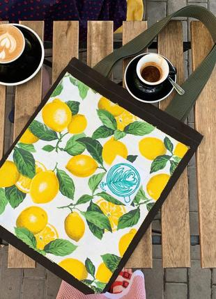 Эко сумка шоппер торба @don.bacon лимоны чашка кофе латте арт