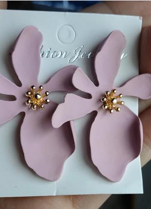 Серьги цветочек сережки цветок2 фото