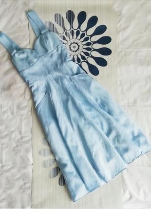 Голубое льняное платье из льна хлопковое голубой сарафан вечернее миди блакитна сукня