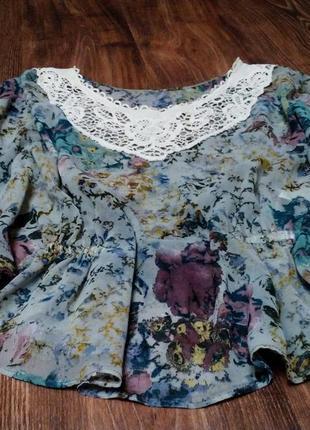 Блузка рубашка шифоновая с кружевом легкая размер s-m
