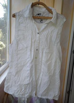 Белая блузка рубашка безрукавка летняя легкая на пуговицах river island