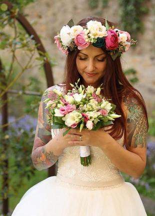 Венок с пионами веночек с ранункулюсами бутоньерка с цветами