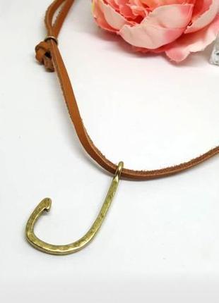 """Кожаный шнурок с кулоном """"крючок"""" морской стиль регулируемая длина дания pilgrim"""