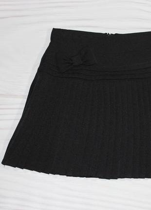 Черная школьная юбка-плиссе с утяжкой, турция