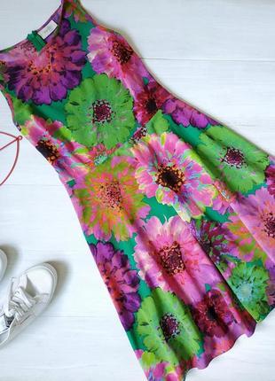 Приталенное платье миди цветочный принт