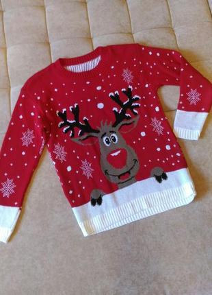 Новогодний свитер с оленем, р.  l
