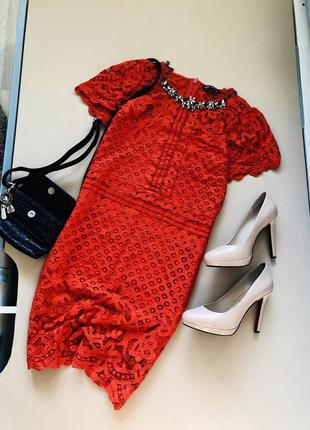 Красивое коралловое кружевное платье next