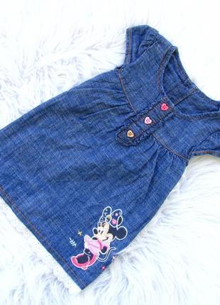 Стильное джинсовое платье сарафан george disney minnei mouse