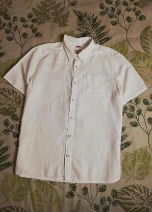 Фирменная натуральная шикарная рубашка fat face лен+коттон