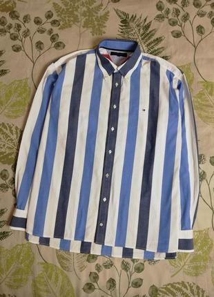 Брендовая шикарная рубашка в полоску tommy hilfilger 100% коттон