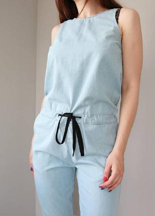 Джинсовый комбинезон штанами, брючный комбинезон xs-s2 фото