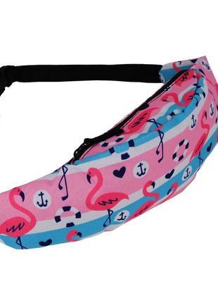 Есть другие! модная бананка, барыжка, сумка на пояс, поясная сумка морской фламинго якорь