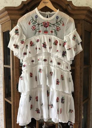 Белое платье с вышивкой zara3 фото