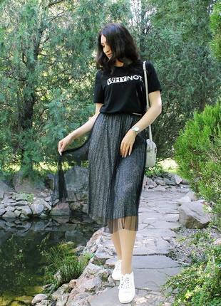 Черная юбка миди с люрексом и фатином / размер универсальный