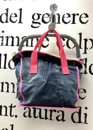 Стильная дизайнерская  джинсовая сумка шопер