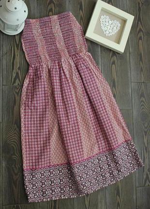 Базовое платье бюстье на резинке с принтом в стиле бохо этно