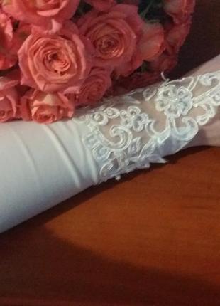 Перчатки высокие свадебные с аппликацией
