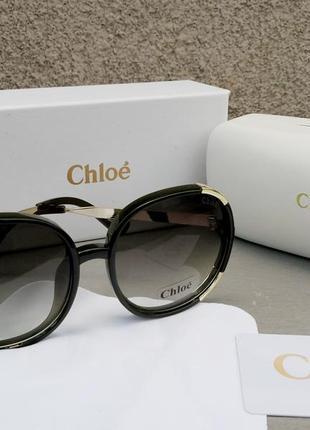Chloe очки женские солнцезащитные большие с градиентом зеленые
