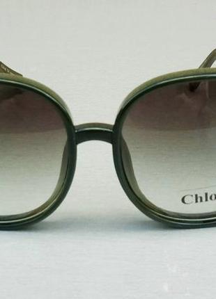 Chloe очки женские солнцезащитные большие с градиентом зеленые2 фото