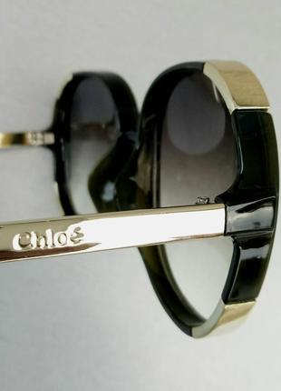 Chloe очки женские солнцезащитные большие с градиентом зеленые8 фото