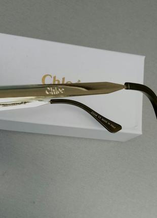 Chloe очки женские солнцезащитные большие с градиентом зеленые10 фото