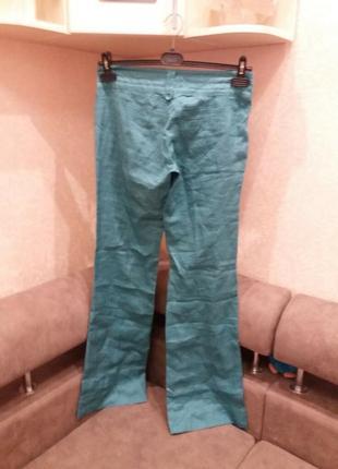 Яркие широкие брюки-бренд-bershka--10 12р лен-100      ж152 фото