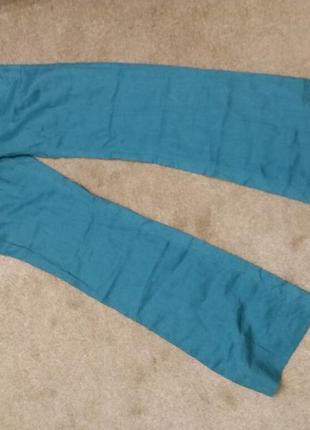Яркие широкие брюки-бренд-bershka--10 12р лен-100      ж154 фото