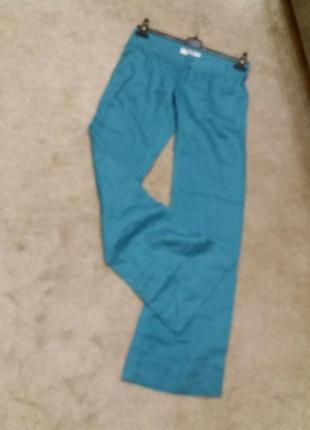 Яркие широкие брюки-бренд-bershka--10 12р лен-100      ж153 фото