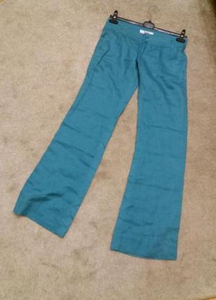 Яркие широкие брюки-бренд-bershka--10 12р лен-100      ж157 фото
