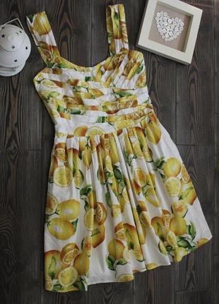 Хлопковое платье сарафан с принтом фрукты