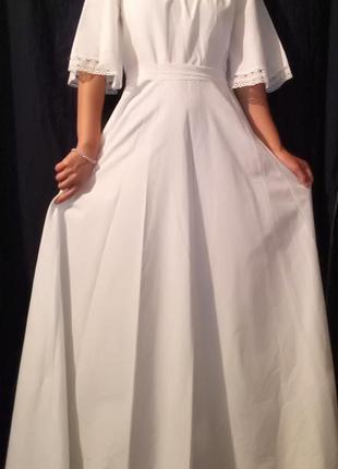 Платье свадебное  белое макси с рукавами крыльями